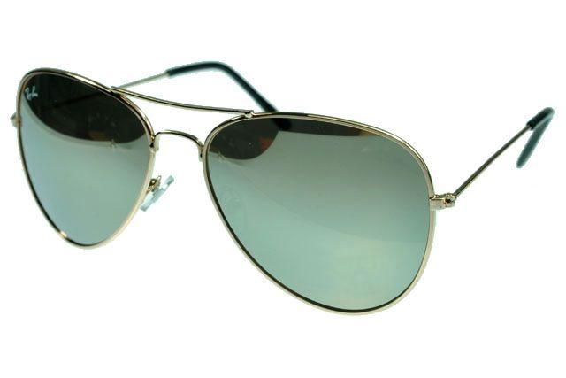 Ray Ban Aviator RB3025 Sunglasses Gunmetal/Gold Frame Green Lens