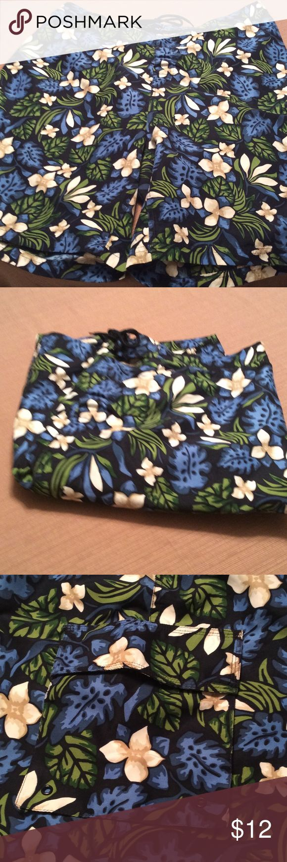 Men's bathing suit with pocket Pocket on leg, elastic on back of waist, and tie in front Covington Swim