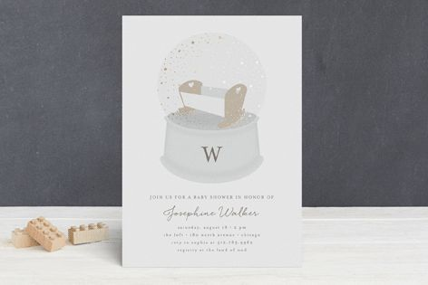 Glitter Globe Foil-Pressed Baby Shower Invitations by Lehan Veenker at minted.com
