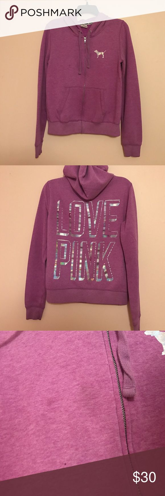 VS Pink purple zip up hoody Purple zip up with hood. Small stain shown in last photo that is actually not too visible in person PINK Victoria's Secret Tops Sweatshirts & Hoodies