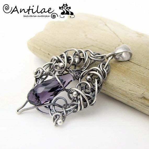 Shabag-Quartz silver wire wrapping pendant by Antilae on Etsy