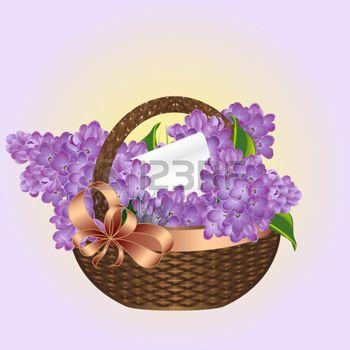 RIBBON OF COLOUR: Spring bouquet de lilas dans un panier en osier. Vector, EPS 10