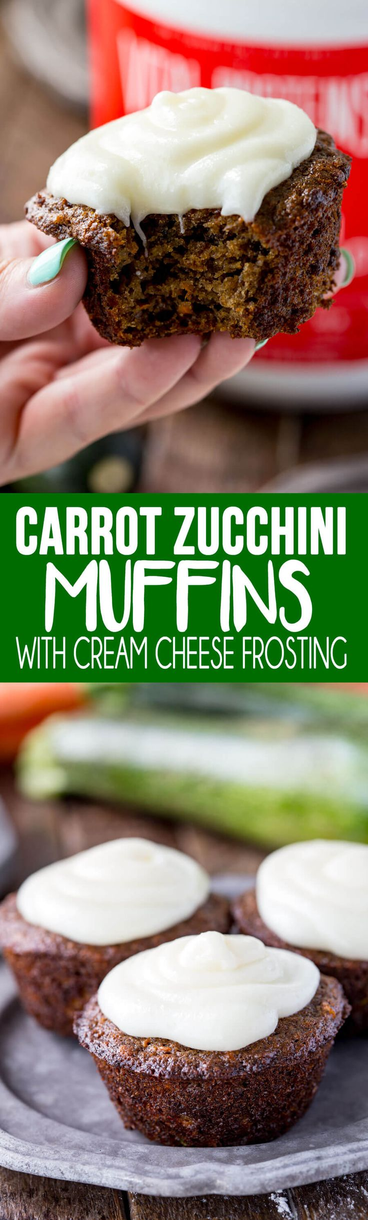 Carrot Zucchini Muffins with a cream cheese frosting that is optional, but makes it even that much more awesome #ad