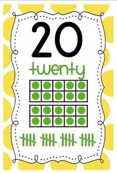 Polka Dot Numbers 0-20 Classroom Display with Ten Frames AND Tally Marks $4.50