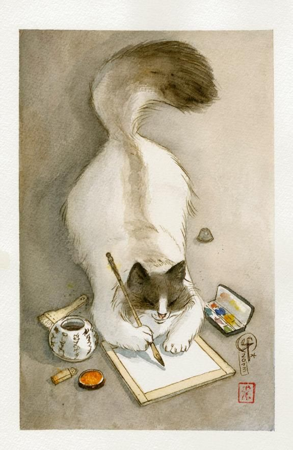 Cat watercolor painting adorable artist artwork by Frédéric Saurel - illustration originale - Le Monde selon Ra