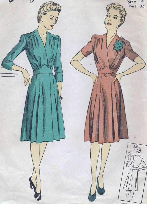 Vtg 1940s Dress Gathered Bodice Pleated Skirt Sewing Pattern DuBarry 5484 B32 14 | eBay