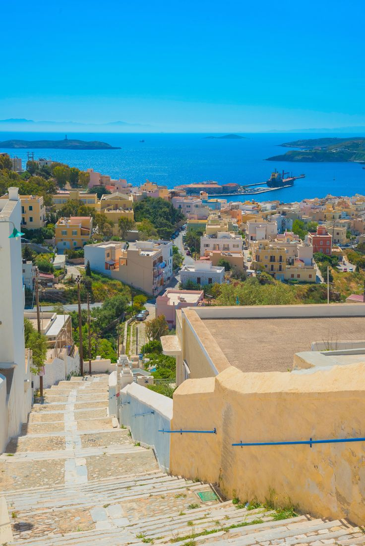 Panoramic view of Ermoupoli on Syros island in Greece.