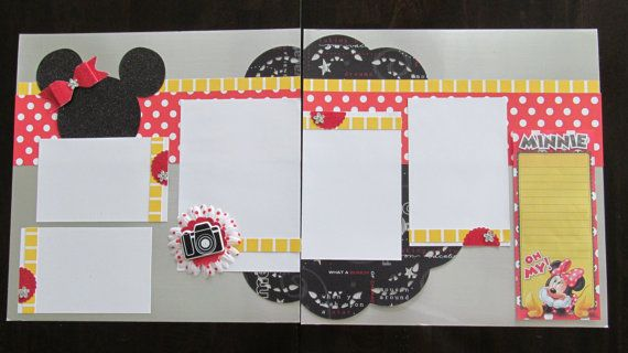 Minnie Mouse Layout Premade de Scrapbook 12 x por blessedbydesign
