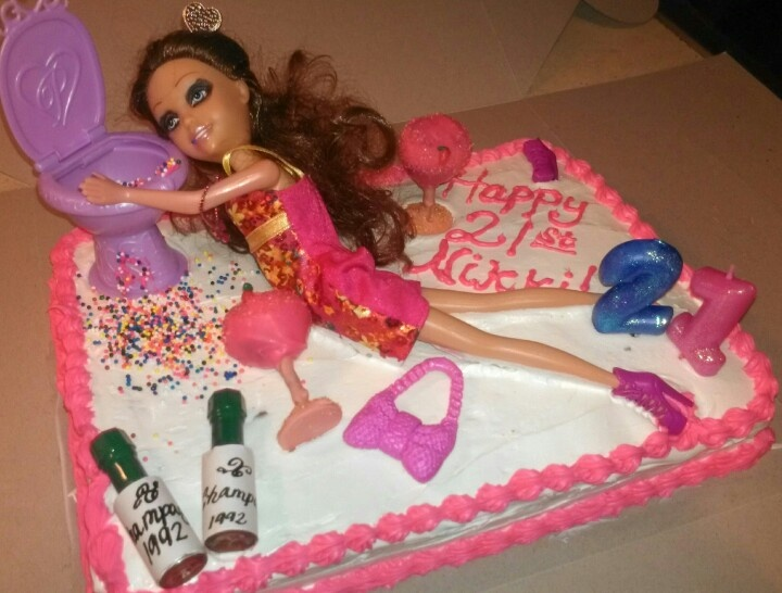 Drunk Barbie Cake Images : Pin Drunken Barbie Cake Great For 21st Birthday I Made ...