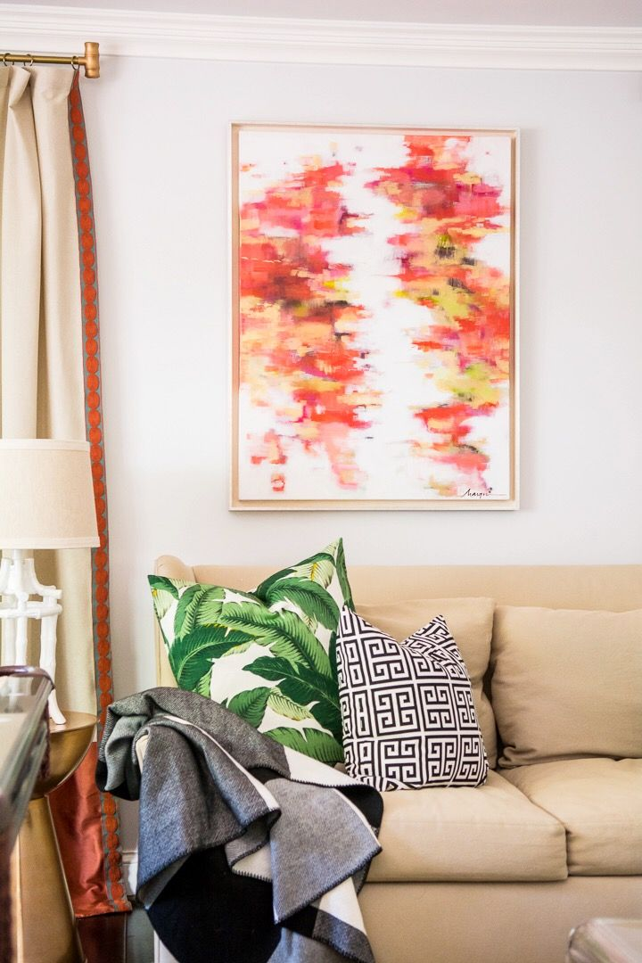 Amanda Louise Interiors One Room Challenge Green And Coral Living Marquin Designs