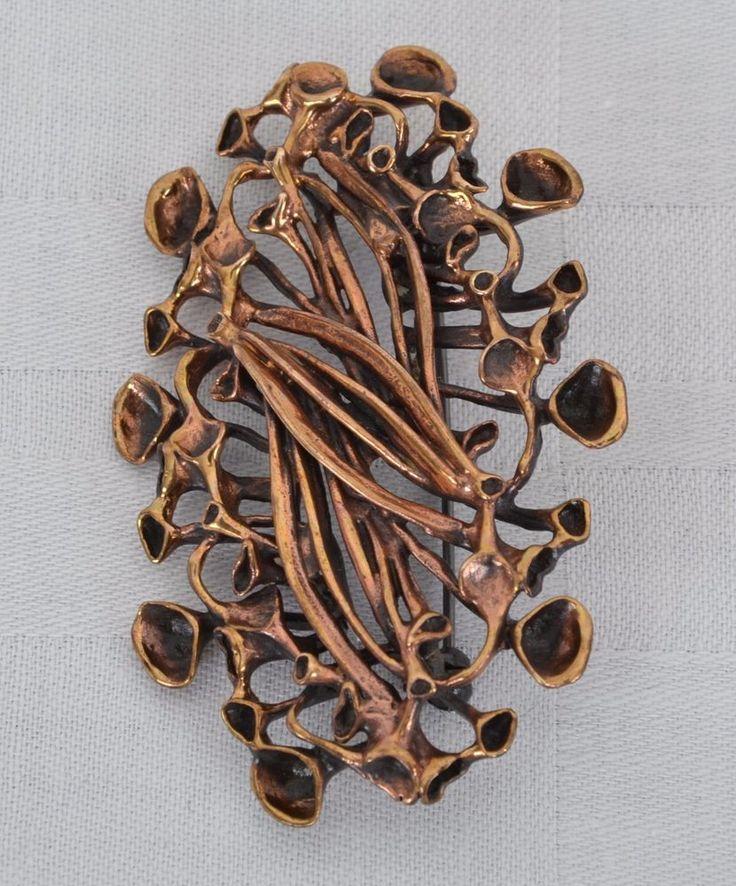 BRONZE Brosche jewelery HANNU IKONEN VALO-KORU FINNLAND REINDEER MOSS