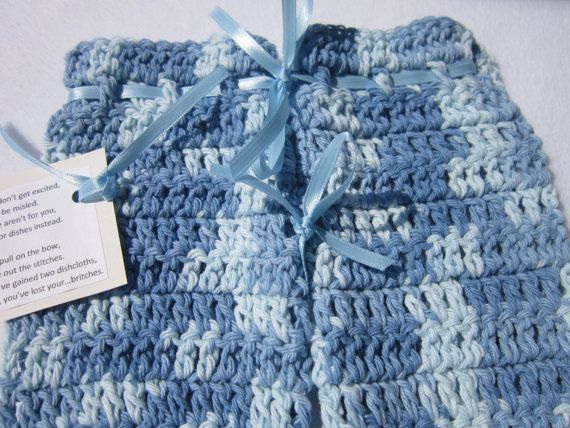 Crochet  Dish Cloth Britches  Shades of by crochetedbycharlene, $8.00: Sewing Quilts Crochet, Crochet Dishes, Crochet Projects, Crochetedbycharlen, Dishes Clothing, Clothing Britch, Britch Shades, Cloths, Crystals Necklaces