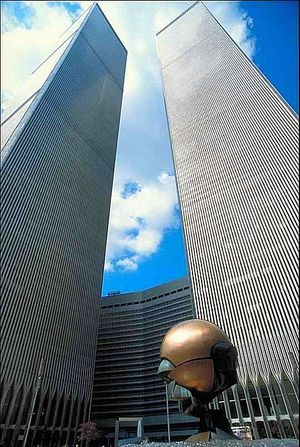 An iconic view of the Twin Towers: Looking Up from the World Trade Center Plaza