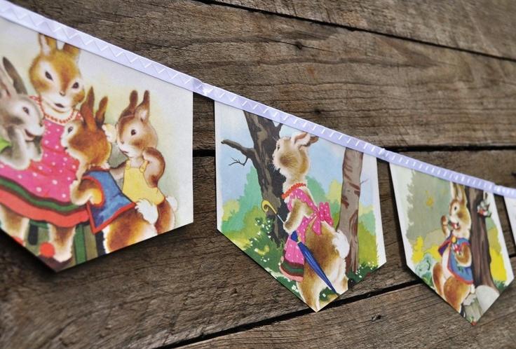 Vintage Little Golden Book Bunting Eco Friendly Repurposed Children's Decoration