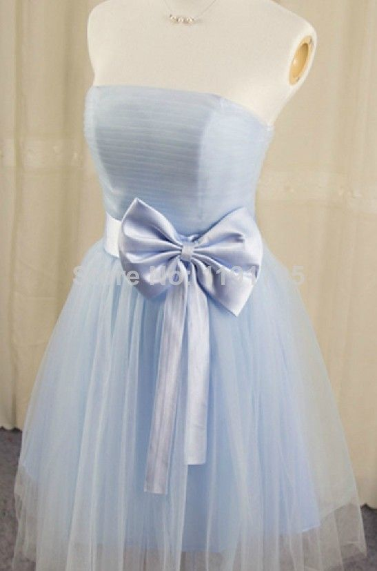 Free shipping Elegant  One Shoulder Blue Prom dress 2014 Ball Gown Mini Bridesmaid Dress 2014 New Style $116.00