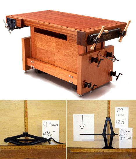 Minnesota-based craftsman Charlie Kocourek wanted an adjustable-height workbench, but found exising versions to be poorly designed—requiring great physical strength to lift or lower—or just too expensive, in the case of motorized ones. Kocourek then invented his own, the Jack Bench, which ingeniously uses scissor jacks culled from junkyard cars. To...