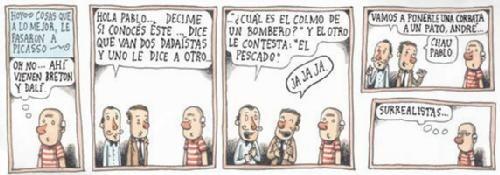 """HOY: """"Cosas que, a lo mejor, le pasaron a Picasso"""", por Liniers : Liniers, seudónimo de Ricardo Siri (Buenos Aires, 15 de noviembre de 1973), historietista argentino. Su seudónimo se debe a que es descendiente del virrey de Buenos Aires Santiago de Liniers. Ávido lector, conoció tempranamente a Hergé, Goscinny y Uderzo, Quino, Héctor Germán Oesterheld, Francisco Solano López, Charles Schulz y Herriman. Estudió publicidad, pero no se dedicó a ello; comenzó a dibujar para fanzines y l..."""