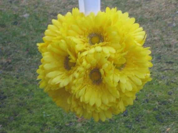 Yellow Gerber Daisy pomander by MyKreations4U on Etsy, $19.00