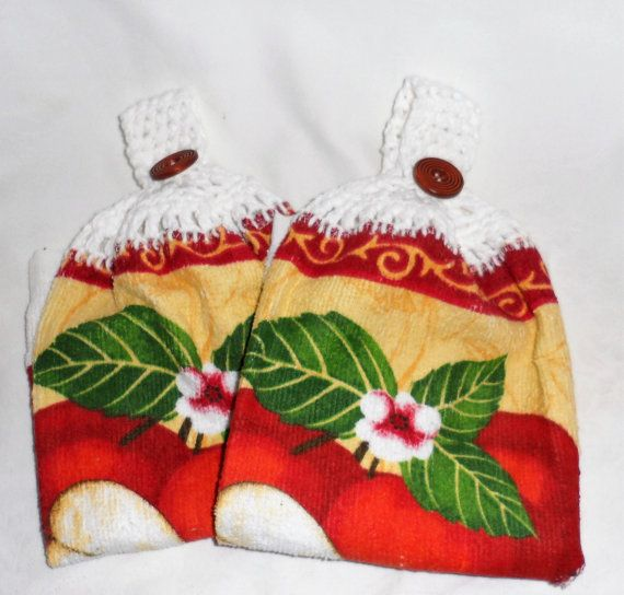 2 Hanging Kitchen Hand Towels/APPLE Designed by BAGLADYFROMTHEBAY