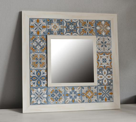Hand Painted Wall Hanging Mirror Decorative Mirror Framed Etsy In 2020 Mirror Decor Mirror Frame Diy Tile Mirror Frame