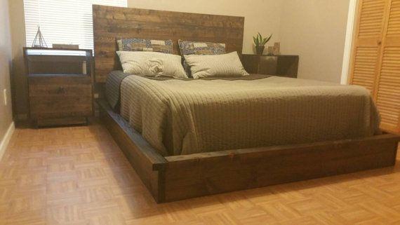 """Rustic Platform Bed Frame with matching Headboard - Big D Custom Builds """"Nest"""" Platform bed"""