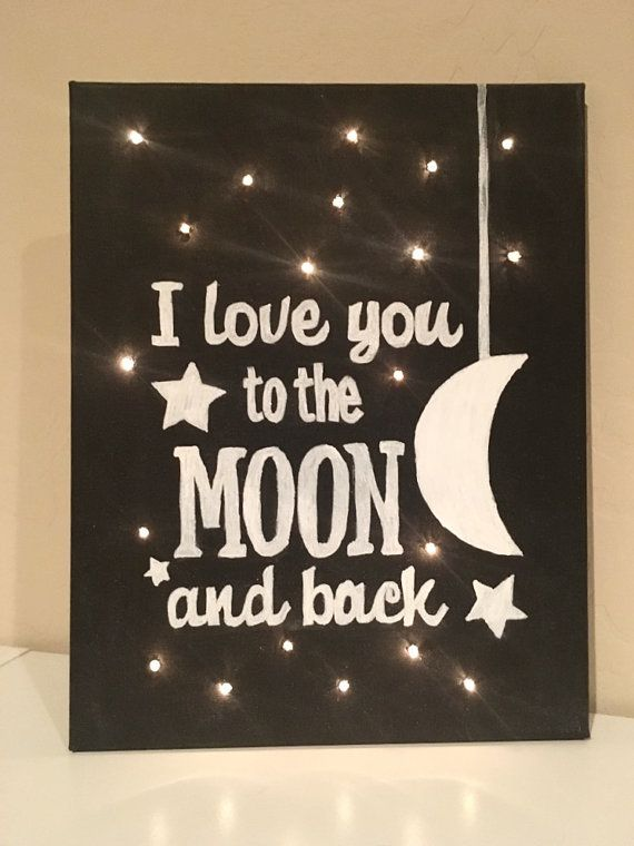 DIY KIT - Light Up Canvas Chalkboard - Create Your Own - Craft Kit - Canvas with Lights - I Love you to the moon and back - Lights in Canvas