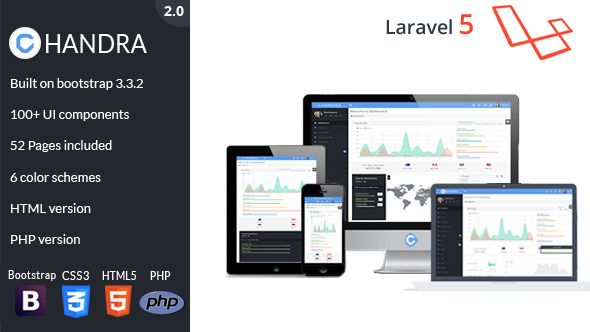 Chandra admin template is beautifully crafted admin template for backend applications.It comes with HTML, PHP and Laravel versions You can use it for any language like PHP, ASP, JSP, perl, ruby etc…Starting a Laravel project? Save tons of hours with built-in blade templates, users management