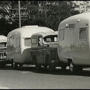 A mining company purchased a fleet of Sunliner Caravans and they created a parade when they picked them up from the Forster NSW factory (c1963)