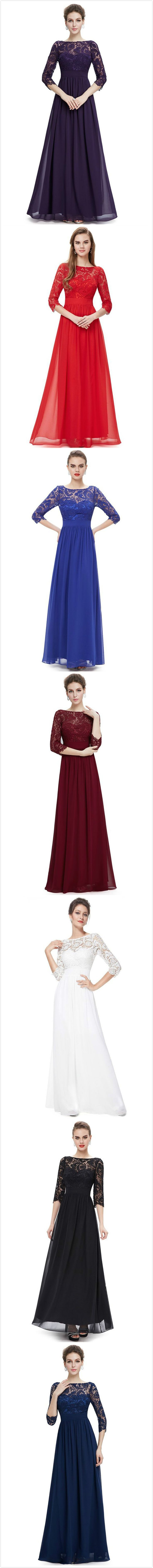Women's Lace Paneled Long Sleeve Floor Length Evening Dress.Check more from www.oasap.com .