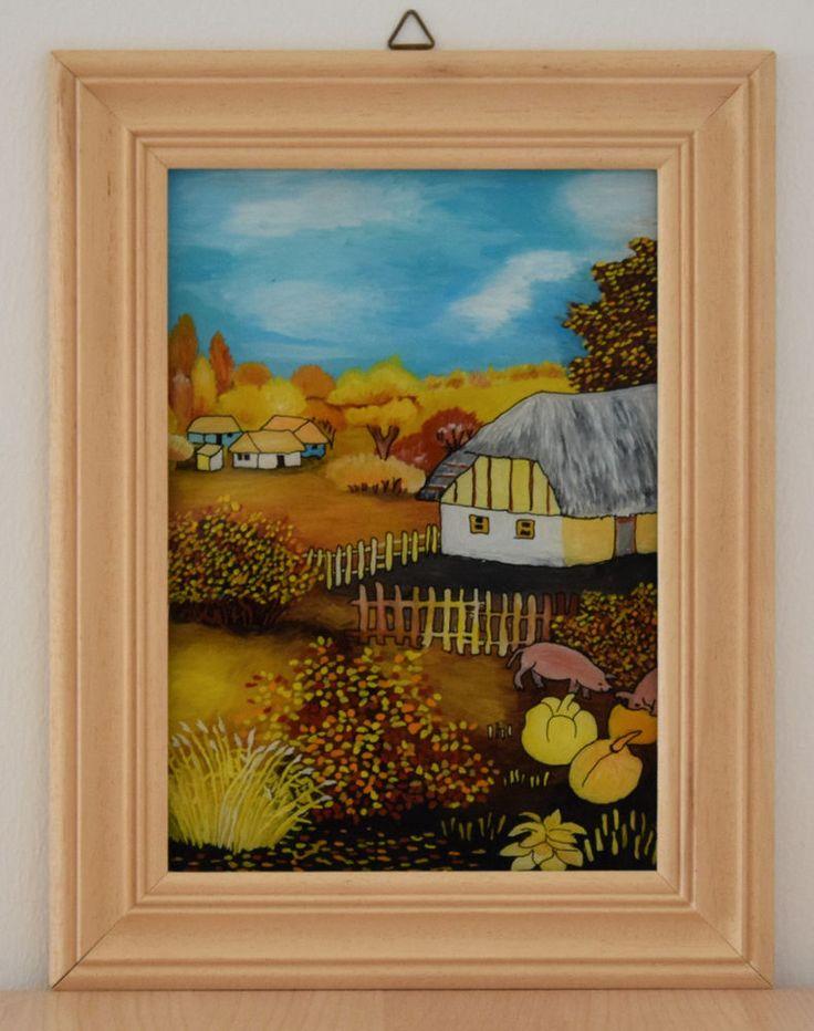 Bauernhaus HINTERGLASMALEREI Naive Malerei im Holzrahmen Original Hinterglas Bild