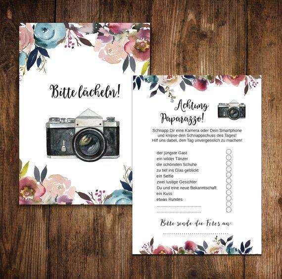 """50 Fotokarten """"Boho Hochzeit"""" Fotospiel Hochzeit"""