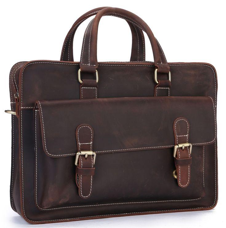Image of Men's Vintage Genuine Leather Shoulder Bag Laptop Briefcase Business Office Bag A04