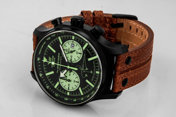 Vostok-Europe Limited Edition for famous pilot Jurgis Kairys. Chronograph in black PVD finished case, limited to 300 pcs #VostokEurope #watch #pilot #aviation #chronograph #automatic