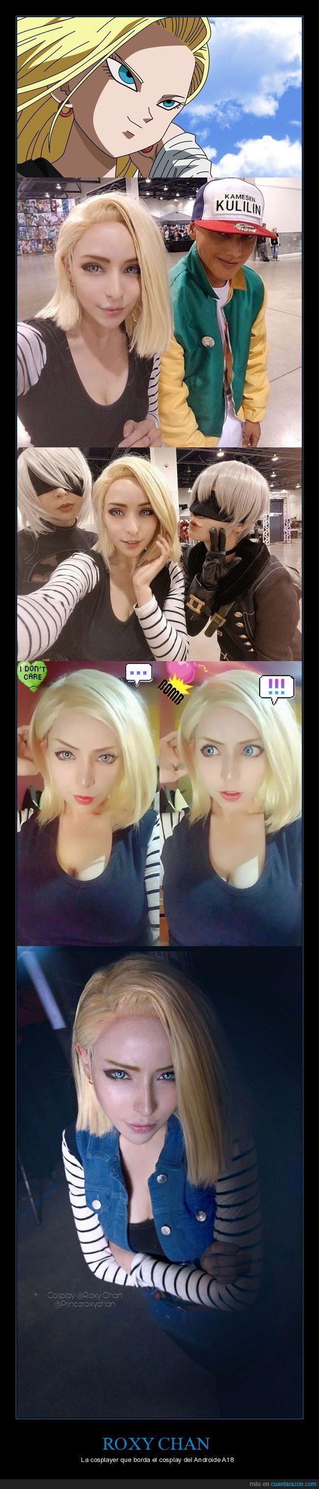 La cosplayer americana Roxy Chan se ha convertido en Androide 18 y hasta Krilin se lo cree - La cosplayer que borda el cosplay del Androide A18