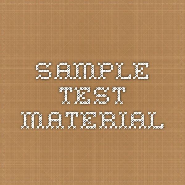 sample test material