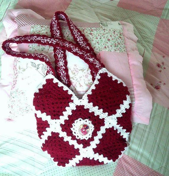 SALE Crochet Claret Red Crochet Handbag by Ladydarinefinecrafts