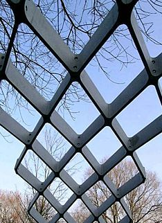 Concrete honeycomb dome shell, base structure, curved, grid, http://yook3.com, Wilfried Ellmer.