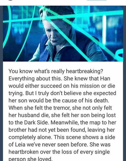 What breaks my heart too is the fact that they killed off han solo because the actor was getting old and they didn't want to have a plot hole if he dies and didn't appear back on screen but the actor who really died was leias'