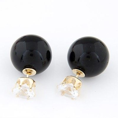 Bendable Black Diamond Round adorable Stud Earrings