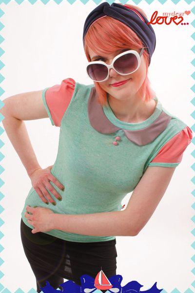 "mydearlove Shirt ""Sally"", Colorblocking Türkis Koralle"