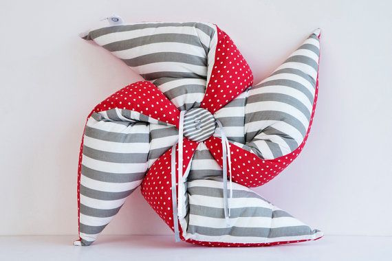 kids decorative pillow | Children room decor | baby Nursery Decor | gender neutral baby decor | red gray cushion | pinwheel decoration