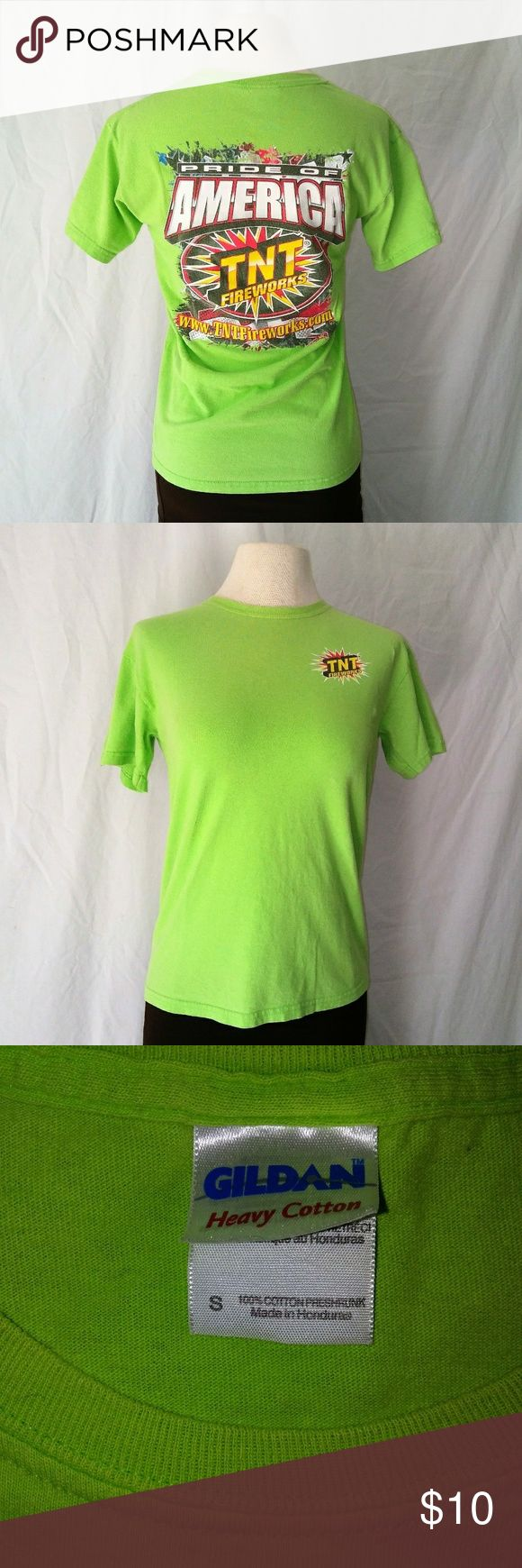 """TNT Fireworks Graphic Tee Neon Green """"Pride of America"""" TNT Fireworks T-Shirt. Women's Small. In excellent used condition. From a smoke free home. Make an offer! SAVE on SHIPPING & get a DISCOUNT by making a BUNDLE! Get 20% off on 2+ items. 2for1 SCARF SALE: Buy one """"2for1"""" scarf at full price and get another scarf of equal or lesser value for free! Purchase the first scarf, comment on the second scarf, & I'll ship both! Vintage Tops Tees - Short Sleeve"""