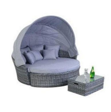 PLATINUM GREY RATTAN GARDEN FURNITURE LARGE DAYBED