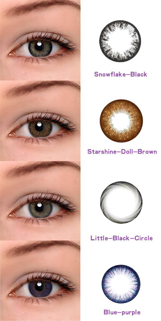 Snowflake-black,Starshine-Doll-Brown ,Little-black-circle and Blue-purple . microeyelenses.com best cheap contact lenses.