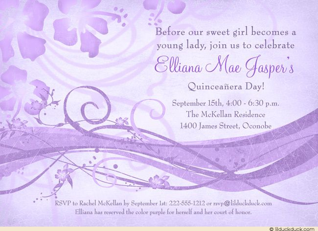 23 best images about Quince invitation ideas – Purple Party Invitations