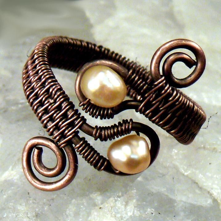 (5) Name: 'Jewelry : Double Gem Woven Wire Ring