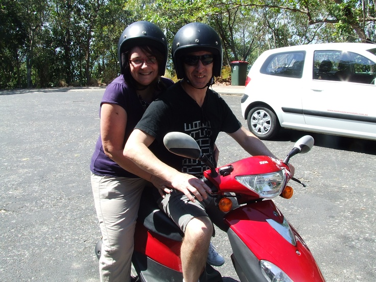Moped riding around Port Douglas with hubby