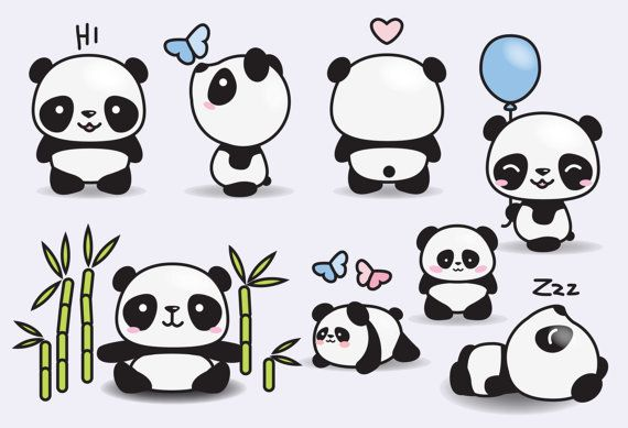 Premium Vector Clipart Kawaii Pandas por LookLookPrettyPaper                                                                                                                                                                                 Más