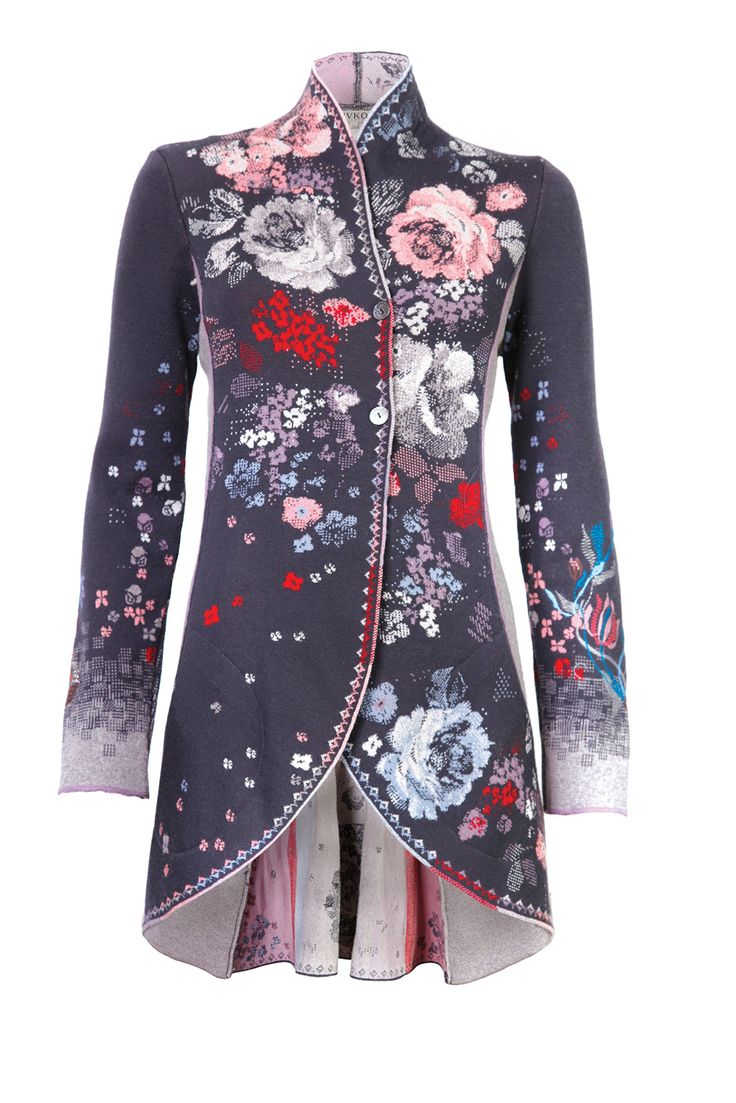 IVKO Mid-Length Merino Wool Sweater Jacket, Grey w Flowers (EUR 36 - US 6)