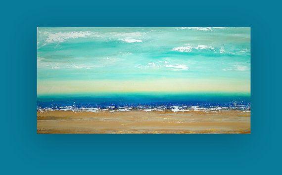 """Acrílico pintura Original de arte abstracto sobre lienzo titulado: Buenos días sol 24x48x1.5 """"por Ora Birenbaum"""